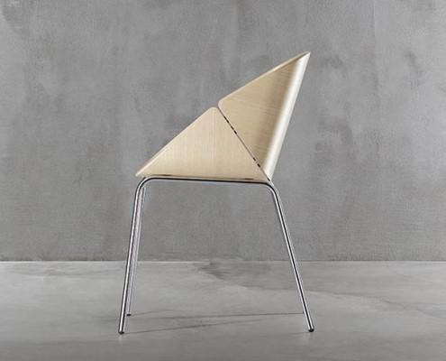 Baba Designstuhl aus Metall und Schichtholz