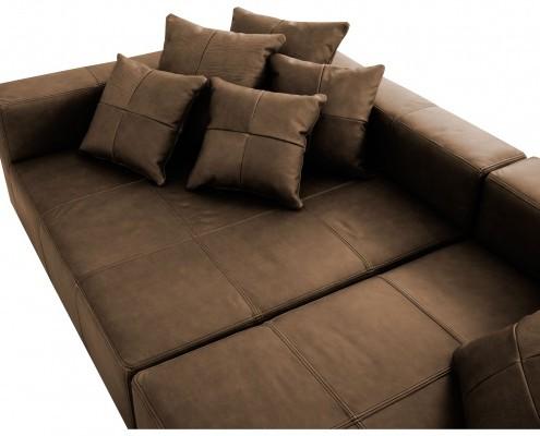 Drei sitziges Sofa mit Lederbezug
