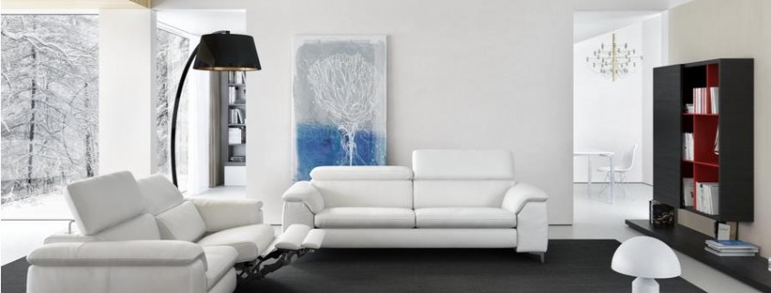 Ledersofa Sora in weiß
