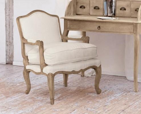 Sessel aus Mahagoniholz und mit Leinenbezug