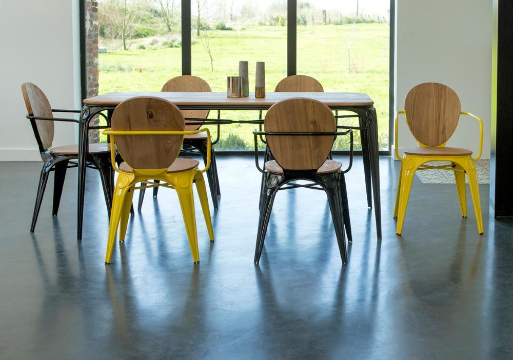 Sessel und esstisch sam aus metall design m bel for Esstisch sessel