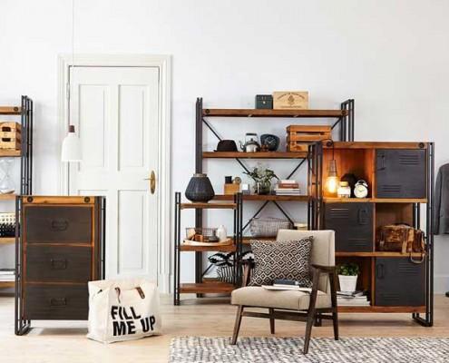 Industrielle Einrichtung und Möbel für den Wohnbereich