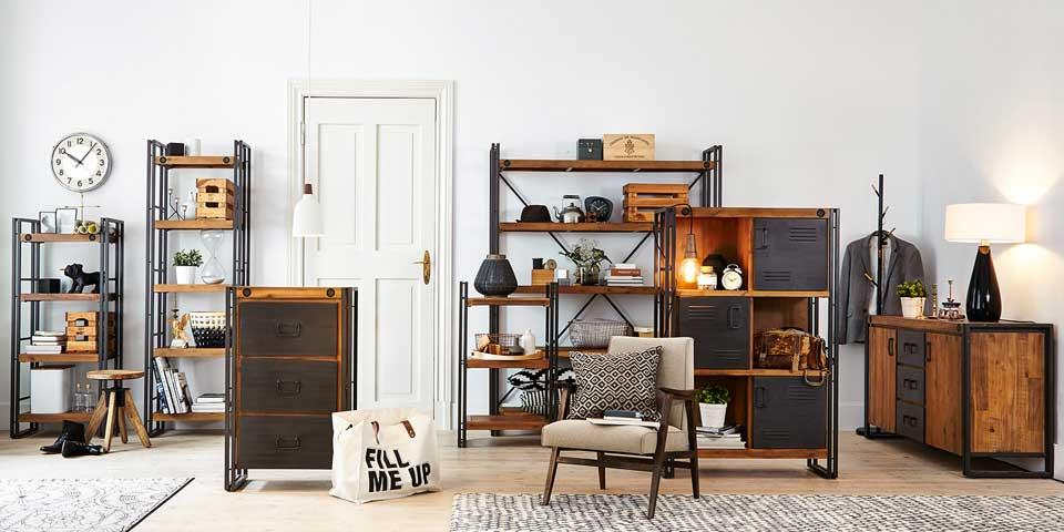 industrial look wohnzimmer. Black Bedroom Furniture Sets. Home Design Ideas