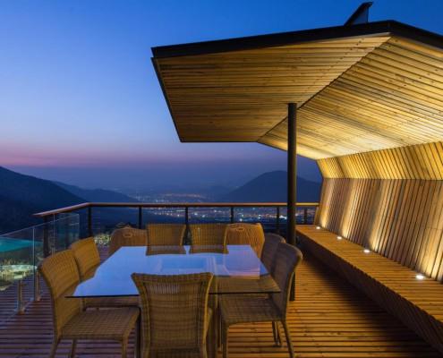 Blick auf Santiago von der Terrasse aus