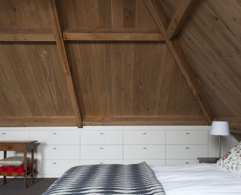 Schlafzimmer mit dem neuen Dachstuhl