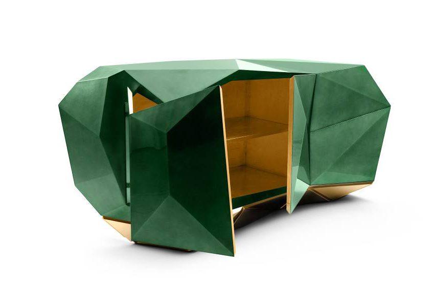 Diamond Emerald Sideboard mit komplexer Türgeometrie