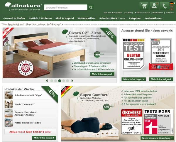 allnatura Möbel zum Schlafen und Wohnen