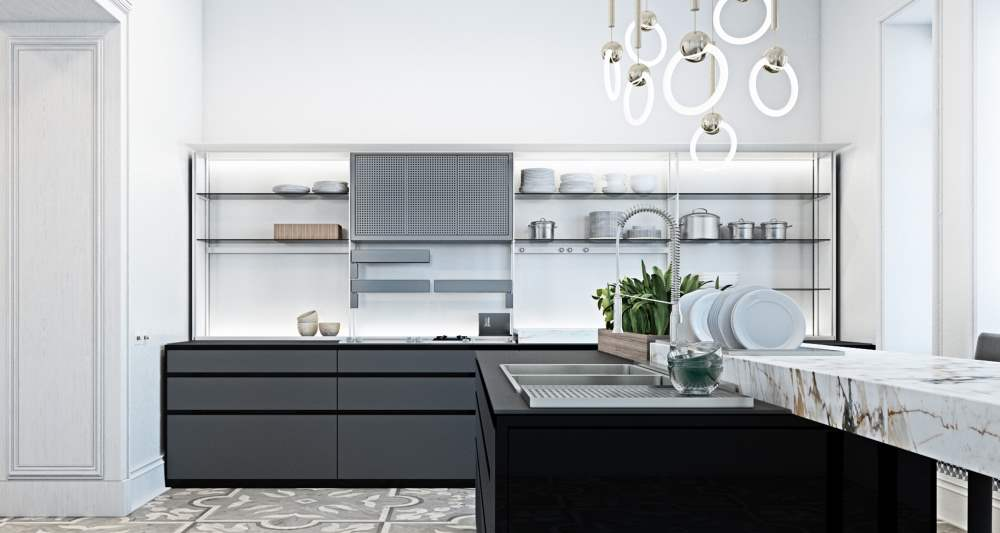Tolle Küche mit offenen Hängeschränken