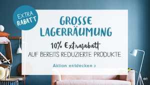 Lagerräumung 10% Extrarabatt auf alle Möbel