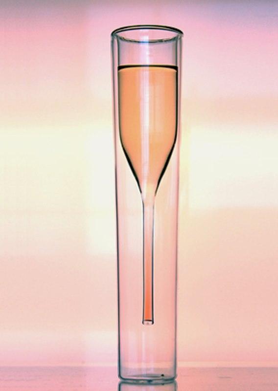 Besonders gelungen, die Sektflöte als doppelwandiges Glas