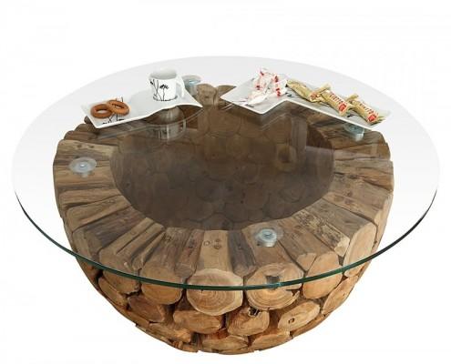 Designer Couchtisch Josue aus Glas und Holz