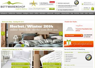 Bettwaren Shop online Shop