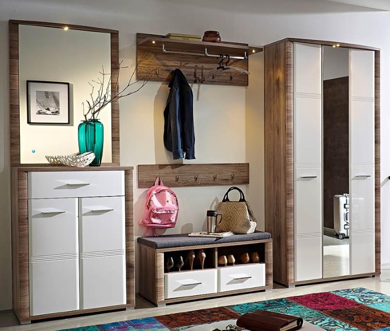 Garderobe in weiß und Eiche