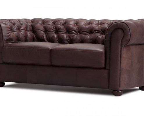 Sofa aus Anilinleder im Chesterfield Look