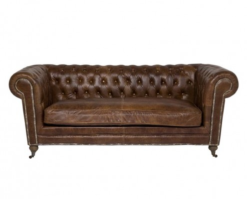 Chesterfield Sofa Oxford mit Lederbezug