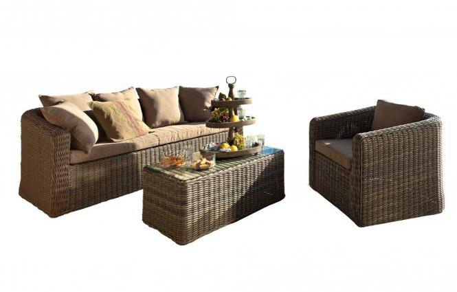Sitzgruppe grau hellbraun 2 design m bel - Loungemobel garten grau ...