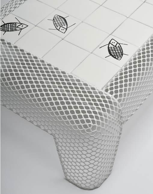 Couchtisch weiß Ivy Detail Fuß und Tischplatte