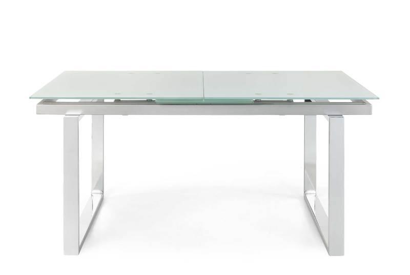 Esstisch ausziehbar Monti aus Glas und Stahl