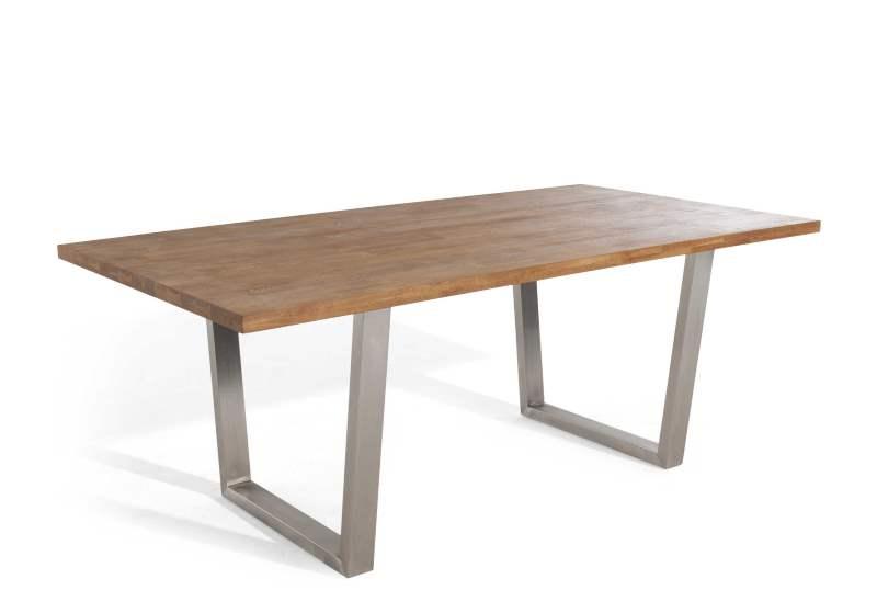 Rustikaler Esstisch aus Holz und Stahl