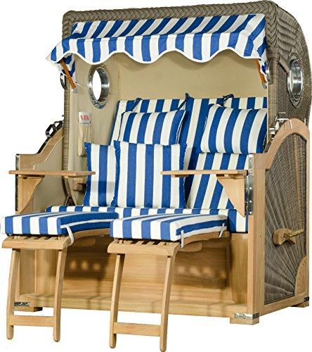 Strandkorb Kampen Teak Bullauge PE Grau Dessin Blau Weiß Strandkörbe fertig aufgebaut