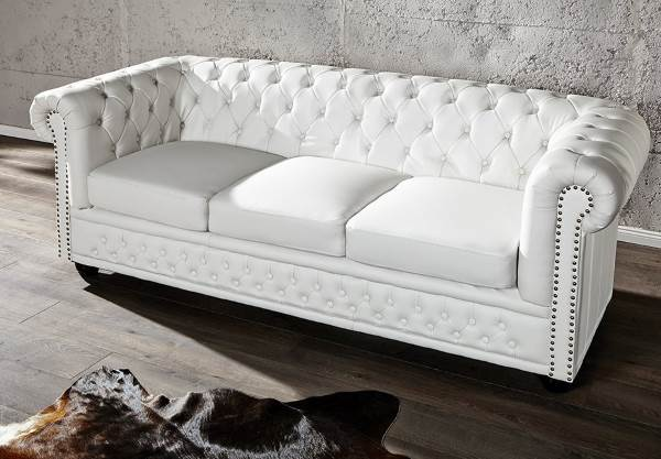 Chesterfield Sofa 3-er mit Nietenbesatz, weiss matt
