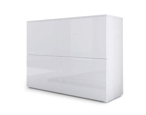 Sideboard Rova, Korpus in Weiß matt / Türen in Weiß Hochglanz