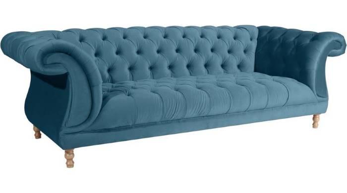 Chesterfield 3 Sitzer Sofa blau