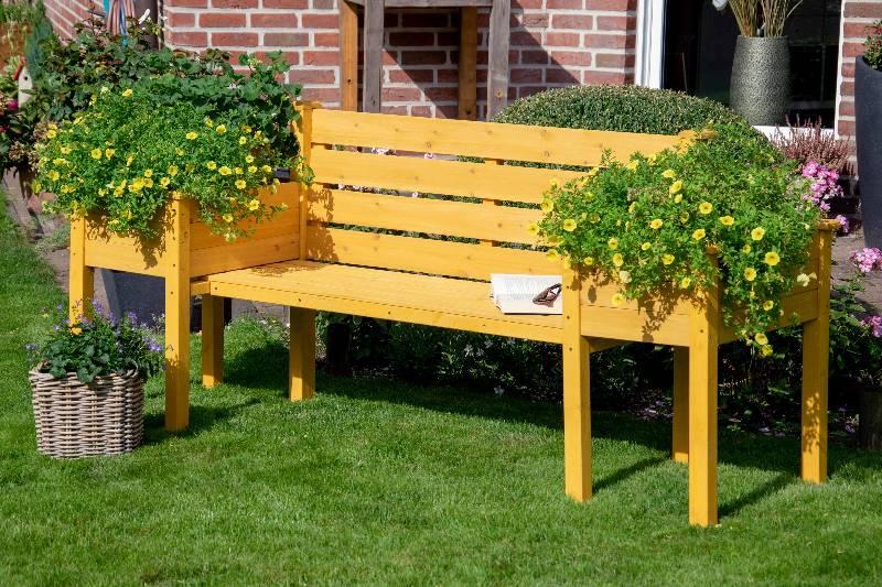 Gartenbank mit Pflanzkübel