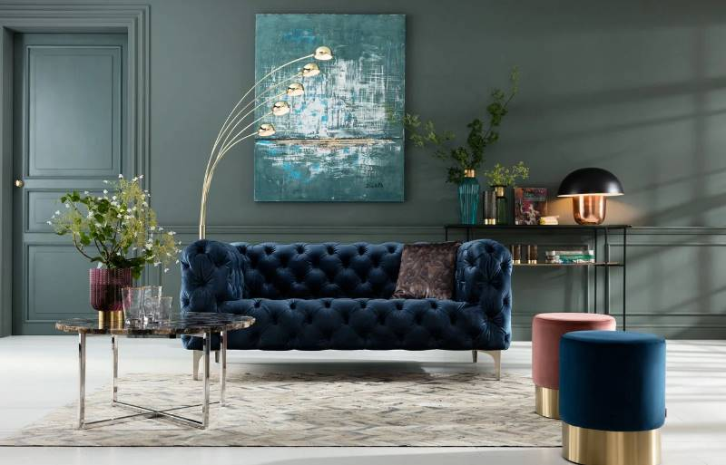 Chesterfield Sofa in blau